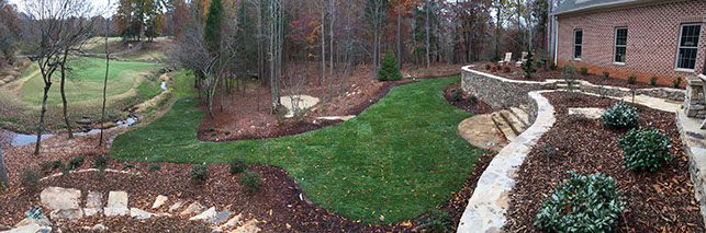 backyard photo with walls and turf